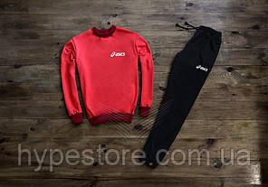 Мужской весенний комбинированный спортивный костюм (красный+черный), костюм Basics (белое лого), Реплика