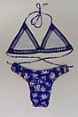 Красивый синий женский раздельный купальник жіночий роздільний купальник, фото 5