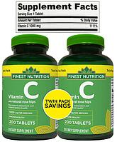 Finest Nutrition, Витамин С (Ц, C), Аскорбиновая кислота, Вит С, Vitamin C, Vit C, 1000 мг, 400 таблеток (500)
