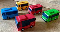 Игровой набор резиновых машинок машинки пикалки автобус Тайо, Tayo, мультик Приключения Тайо, арт. L2015-56
