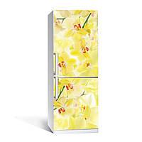 Виниловая наклейка на холодильник Лимонные орхидеи ламинированная двойная ПВХ пленка желтый цветы 650*2000 мм