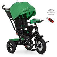 Трехколесный велосипед с родительськой ручкой M 4060-4, USB/BT, свет, тормоз, пульт, зеленый