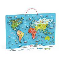 Пазл Viga Toys магнітний Карта світу з маркерной дошкою, англійською (44508EN)