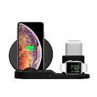 Быстрая беспроводная зарядка подставка Qi Wireless Fast Charger 3 в 1 для телефона (док станция), черная, фото 1