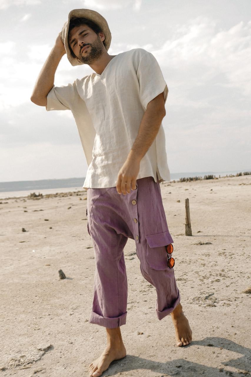 Стильные удобные мужские  штаны, натуральный  лен, цвет сиреневый.