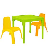Детский стол для творчества + 2 стула Разноцветные 18-100-28, КОД: 1130290