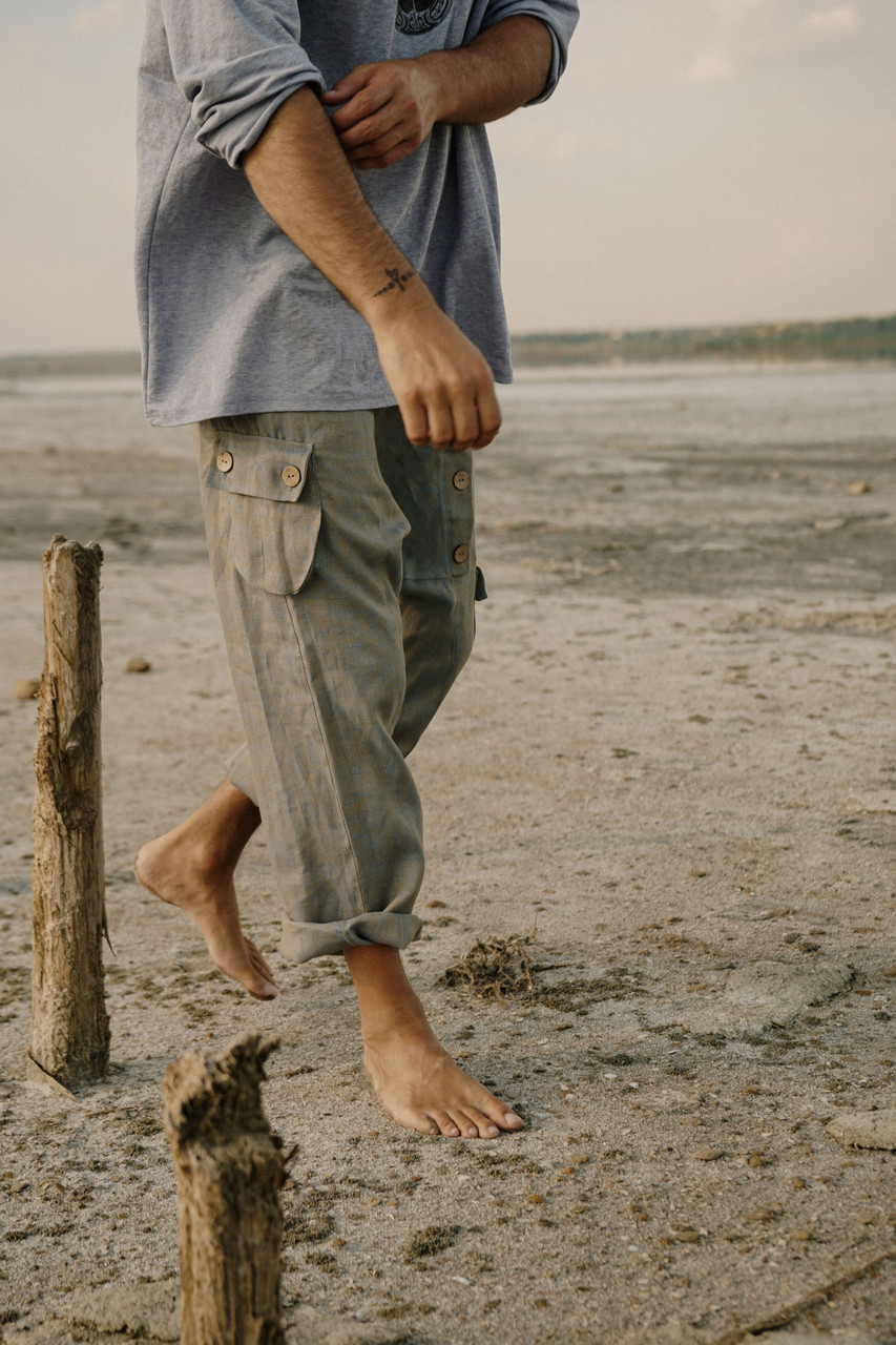 Стильные  удобные мужские штаны, натуральный  лен ,цвет серый с перламутром.