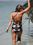 Суцільний купальник з ліліями слитный купальник хайнек, фото 6