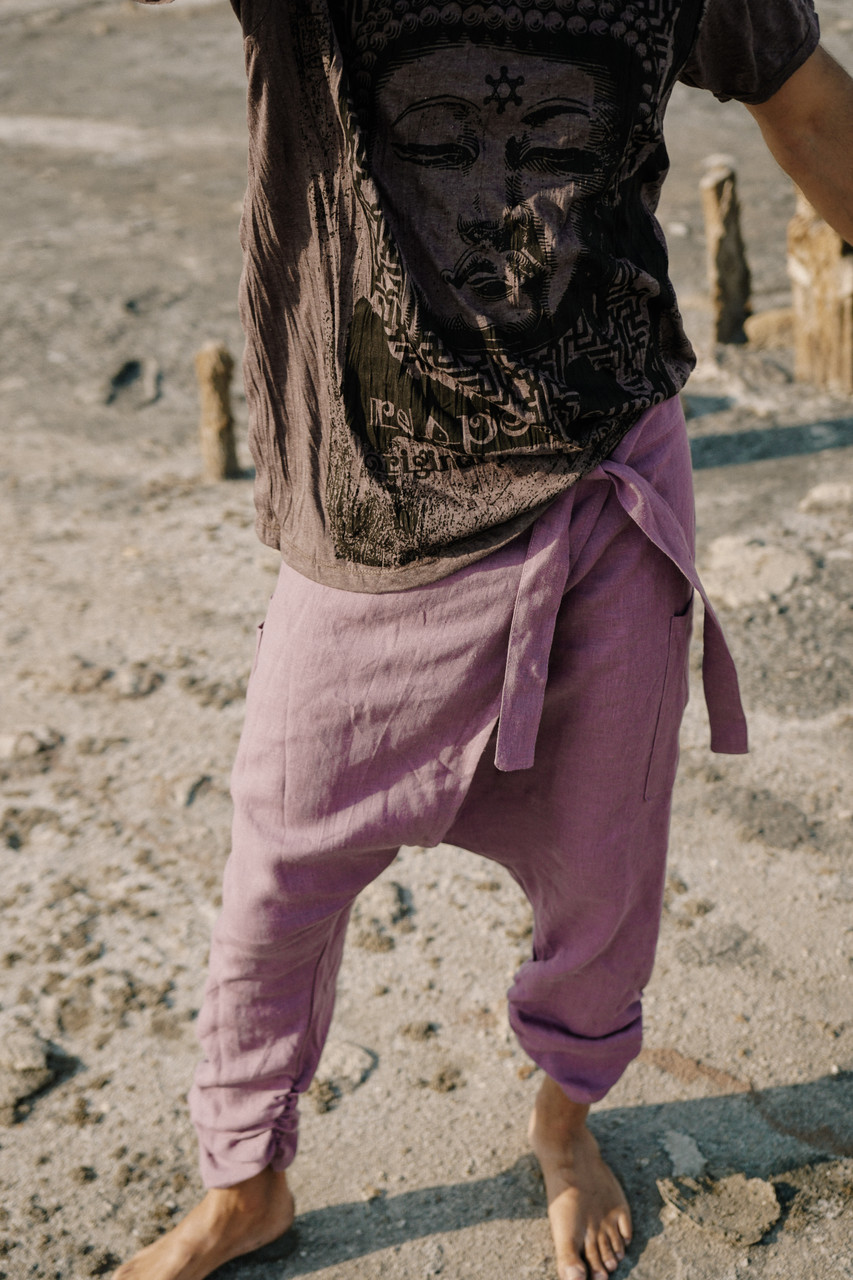 Стильные удобные мужские штаны  на запах, лен ,цвет сиреневый.