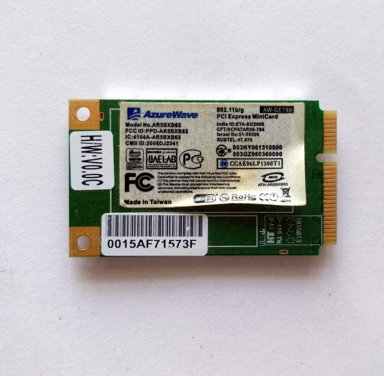 434 Wi-Fi Atheros AR5BXB63 AR5007EG AW-GE780 802.11 b/g mini PCI-Express 54 Mbps для ноутбука