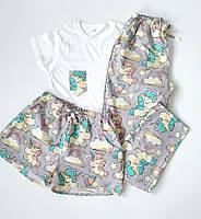 Серая женская пижама-тройка из футболки, шортов и штанов с единорогами S