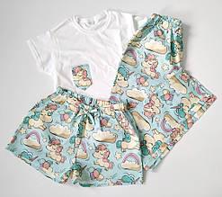Мятная женская пижама-тройка из футболки, шортов и штанов с единорогами