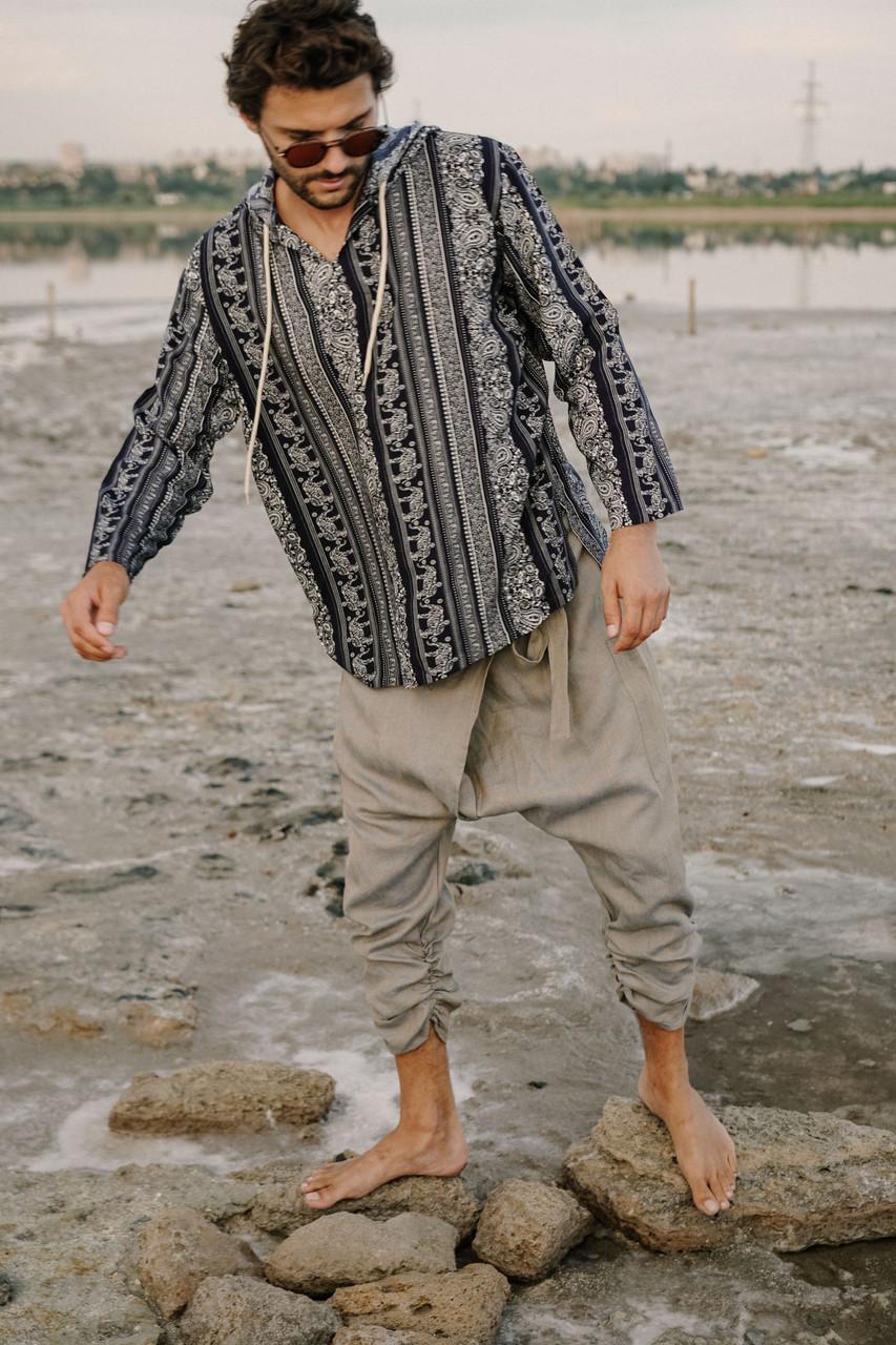 Стильные удобные мужские штаны на запах, лен ,цвет серый с перламутром.