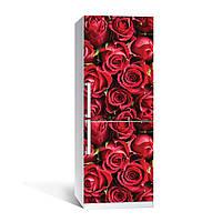 Виниловая наклейка на холодильник Красные Розы бутоны ламинированная двойная пленка фотопечать цветы 650*2000