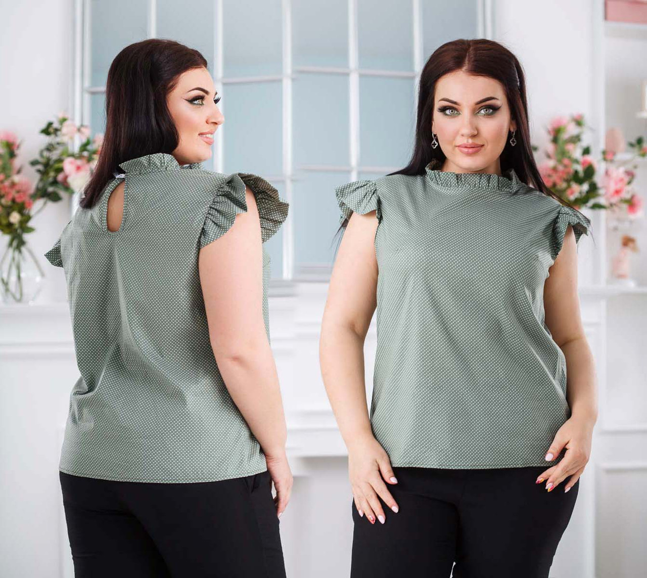 """Женская летняя  блузка в больших размерах 41473-1 """"Коттон Горошек Рюши"""""""
