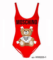 Купальник слитный красный с мишкой Moschino, фото 1