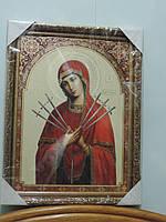 """Икона в рамке (оклад) """"Богородица Семистрельная"""". Размер 43 х 33 см., фото 1"""