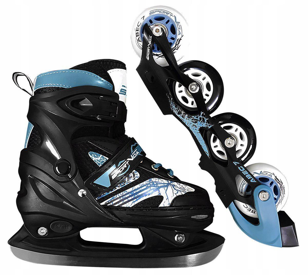 Роликовые коньки детские SportVida 4 в 1 SV-LG0019 размер 31-34 Black/Blue. Ролики для детей