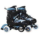 Роликовые коньки детские SportVida 4 в 1 SV-LG0019 размер 31-34 Black/Blue. Ролики для детей, фото 4