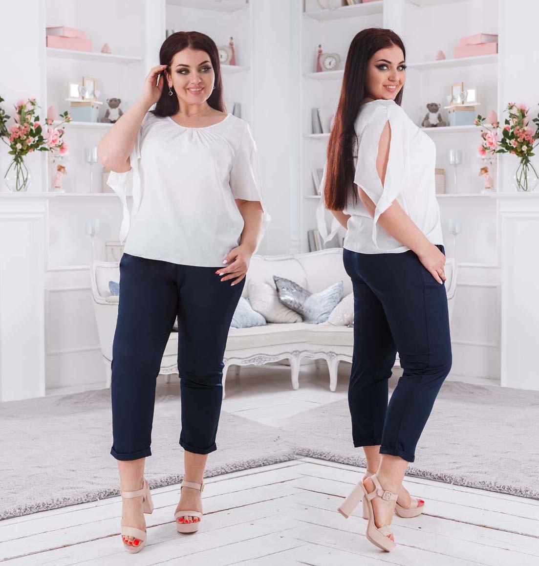 """Женские стильные брюки в больших размерах 41345 """"Креп Чинос"""" в расцветках"""