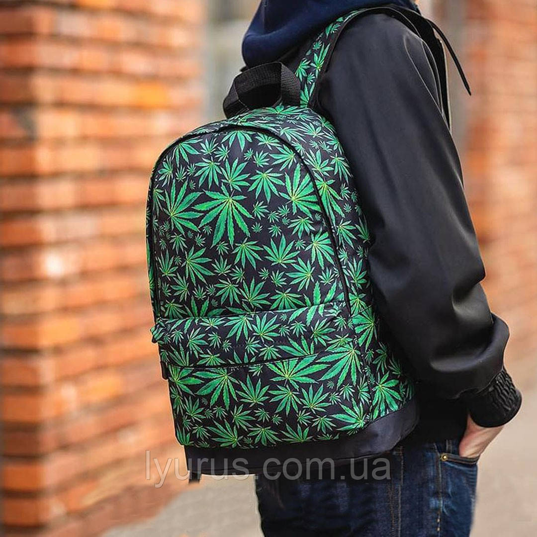 Молодежный рюкзак с принтом Конопля, Cannabis. Для путешествий, тренировок, учебы