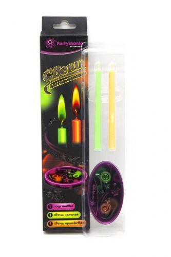 Свечи с цветным огнем, зеленый оранжевый T0401