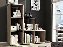 Полка для книг, стеллаж для дома на 6 ячеек.Bonittopurple, Дуб Сонома, P0003D