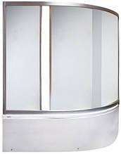 4009-150 (1500х1450мм). Штора для ванной KO&PO. 3-секции. Профиль сатин. Стекло матовое