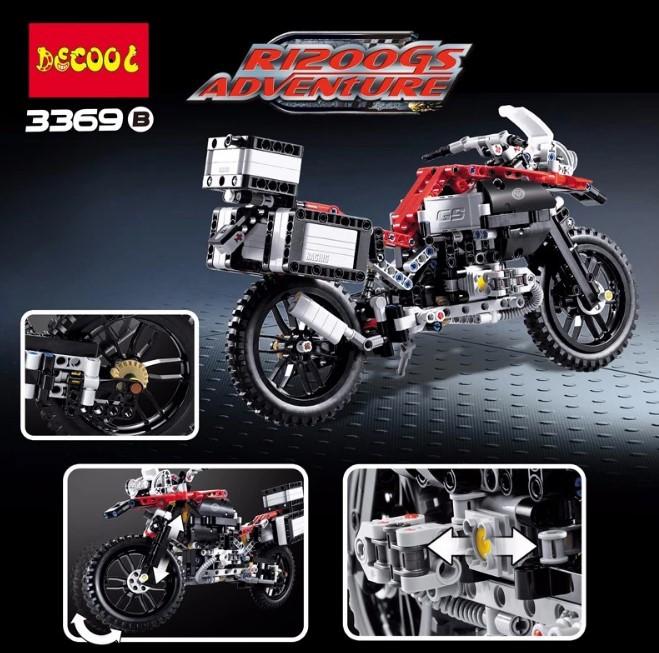 Конструктор Decool 3369B Мотоцикл, 603 детали