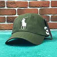 Кепка бейсболка Polo Ralph Lauren 3 болотная с белым лого, фото 1