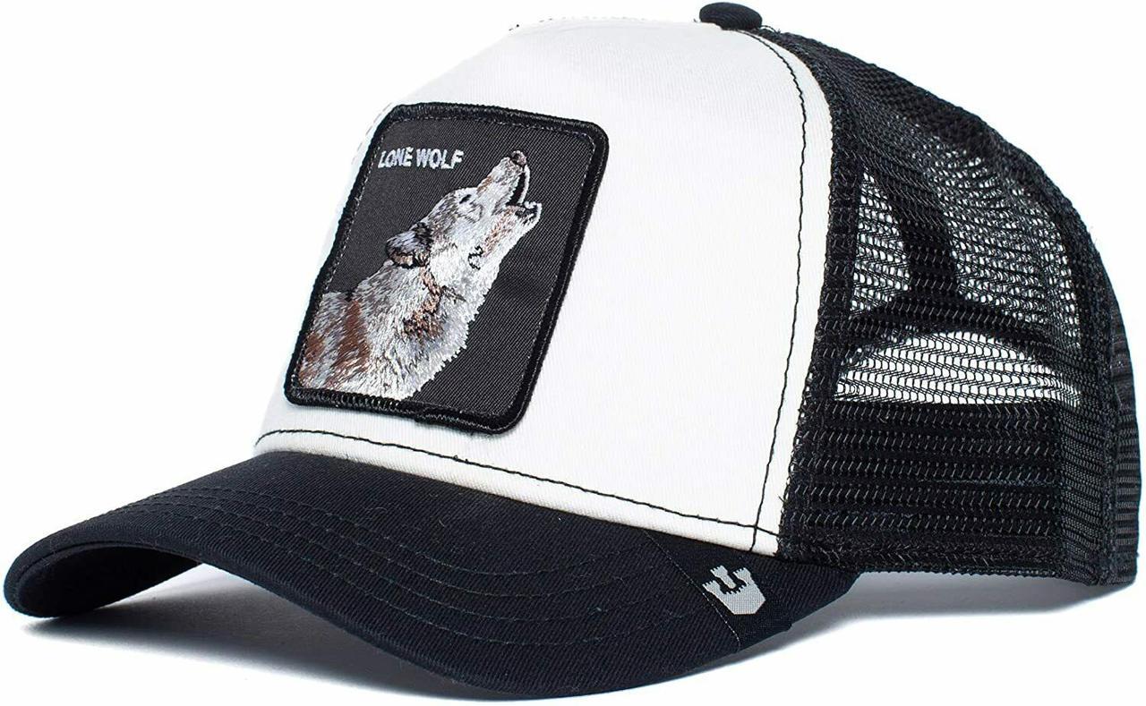Кепка бейсболка Тракер с сеткой Goorin Brothers Bros Animal Farm Lone Wolf Волк Черно-белая