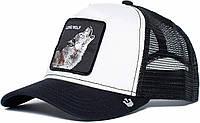 Кепка бейсболка Тракер с сеткой Goorin Brothers Bros Animal Farm Lone Wolf Волк Черно-белая, фото 1