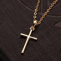 Крестик с цепочкой Маленький Металличесчкий Сплав Цвет Золото