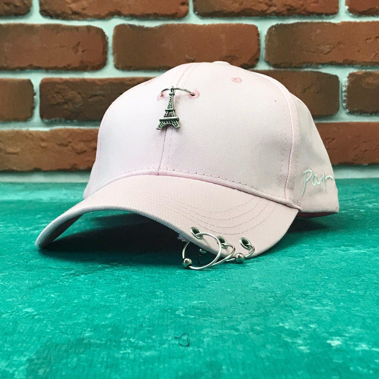 Кепка бейсболка Paris с кольцами (розовая)
