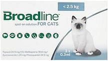 Капли на холку Бродлайн (Broadline) от блох и клещей для кошек до 2,5 кг (1 апликатор - 0,3 мл)