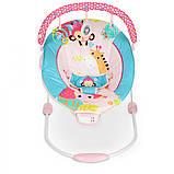 Детский напольный музыкальный шезлонг-баунсер Mastela сине-розовый цвет. кресло качалка для детей, фото 6