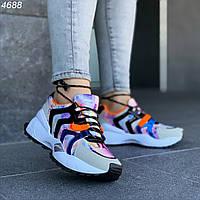 Женские кроссовки разноцветные спортивные мульти цвет эко замша эко кожа