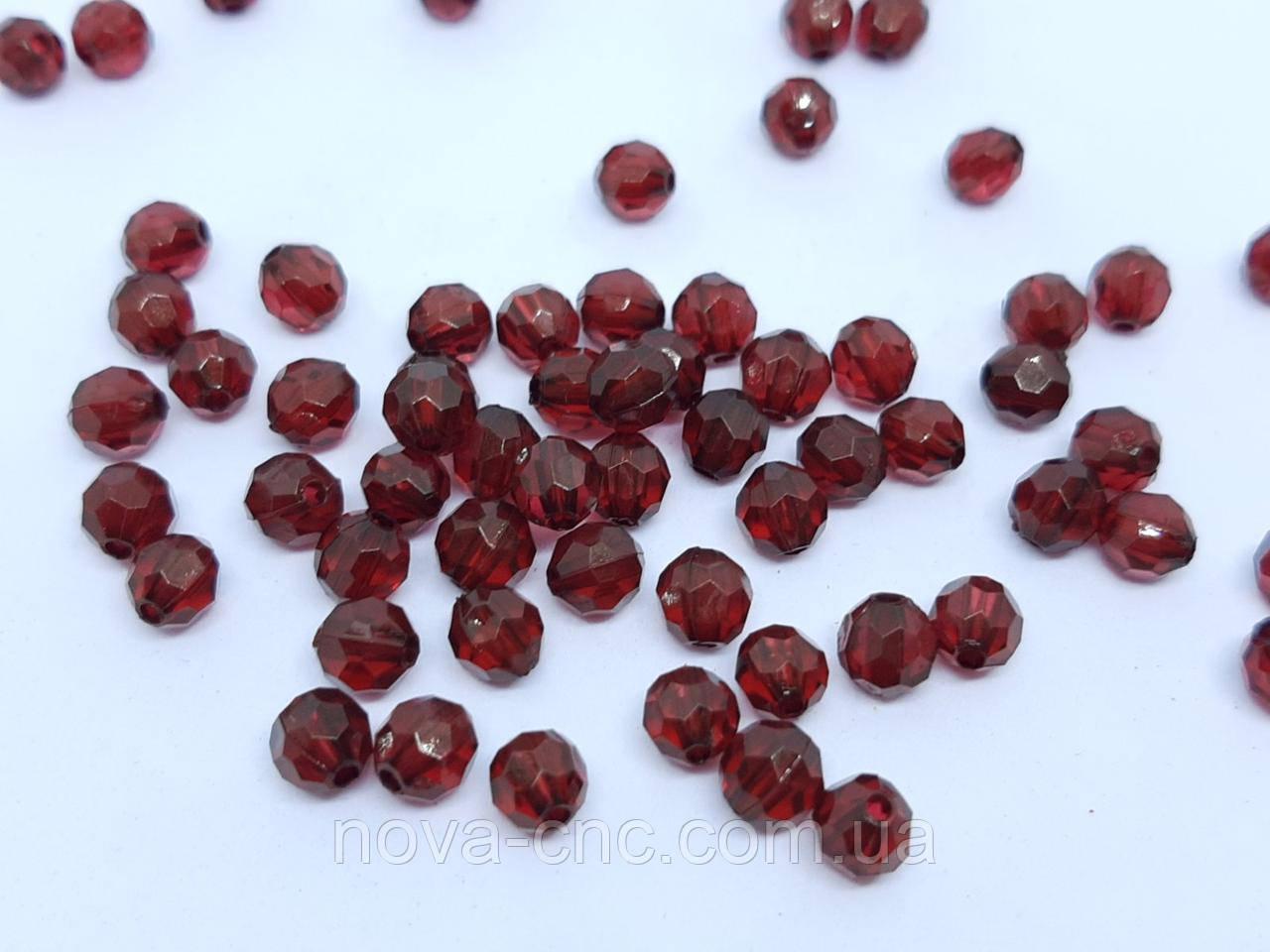 "Бусины ""Гранатик"" вишневый 6 мм акрил 500 грамм"