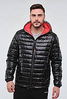 Мужская стеганная молодежная демисезонная куртка черного цвета с капюшоном TM DANSTAR