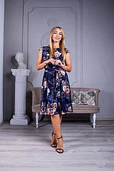 Женское платье Сильвия цвет синий с цветами размер 48- 54