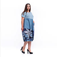 Голубое комбинированное платье хлопок и трикотаж баллон с акцентами в стиле Бохо Италия
