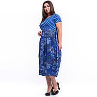 Женское синее платье трикотаж и хлопок Италия универсального размера в стиле бохо