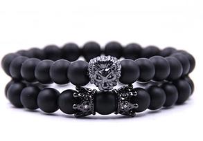 Мужской каменный браслет mod.KING black, фото 2