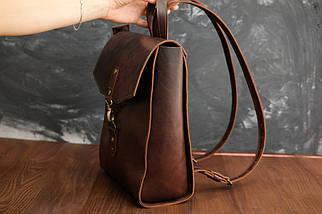 """Жіночий Рюкзак """"Модель №78"""" кожа Італійський краст, колір Вишня, фото 3"""