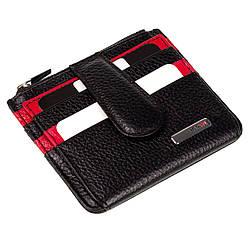 Кожаный картхолдер Karya 0018-45 с отделением для мелочи черный