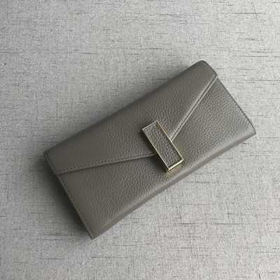Большой кошелек надвижная застежка / натуральная кожа (10235) Серый