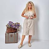 Льняной летний стильный сарафан в полоску, р.48,50,52,54 код 5015С, фото 4