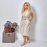 Льняной летний стильный сарафан в полоску, р.48,50,52,54 код 5015С, фото 2