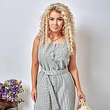 Льняной летний стильный сарафан в полоску, р.48,50,52,54 код 5015С, фото 6