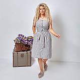 Льняной летний стильный сарафан в полоску, р.48,50,52,54 код 5015С, фото 8